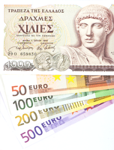 Greek drachma replacing euro